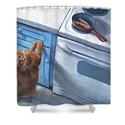 Cat Begging For Bacon Shower Curtain