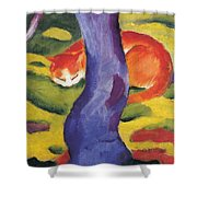 Cat Behind A Tree Shower Curtain