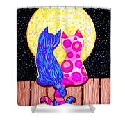 Cat Couple Full Moon Shower Curtain