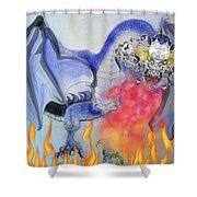 Cat Dragon Shower Curtain