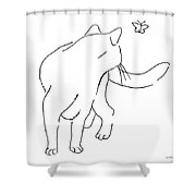 Cat-drawings-black-white-2 Shower Curtain