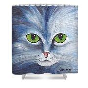 Cat Eyes Blue Shower Curtain