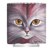 Cat Eyes Red Shower Curtain