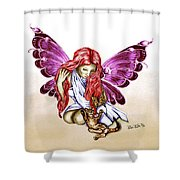 Cat Fairy In Purple  Shower Curtain