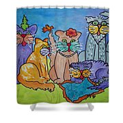 Cat Family Gathering Shower Curtain