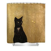 Cat In A Garden Shower Curtain