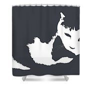 Cat In Black And White Shower Curtain