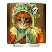 Cat In Bonnet Shower Curtain