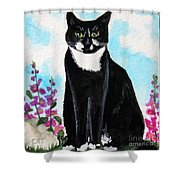 Cat In The Garden Shower Curtain