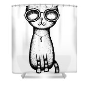 Cat In The Glasses Shower Curtain