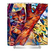 Cat In Tree Shower Curtain