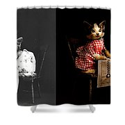 Cat - It's Our Birthday - 1914 - Side By Side Shower Curtain