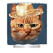 Cat Kitty Kitten In Clothes Yellow Glasses Straw Shower Curtain