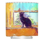 Cat Looking Out The Window Shower Curtain