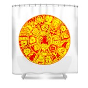 Cat Mandala Yellow And Red Shower Curtain