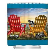 Cat Nap At The Beach Shower Curtain by Debra and Dave Vanderlaan