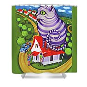 Cat On A Red Tin Roof Shower Curtain