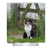 Farm Cat On Duty Shower Curtain