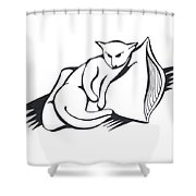 Cat On Pillow Shower Curtain