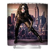 Cat On The Town Shower Curtain