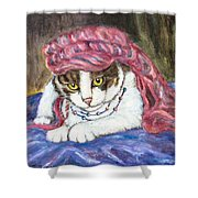 Tabby Cat With Yellow Eyes Shower Curtain