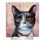 Cat Painting Cat Portrait Watercolor Cat Cat Art Cat Lover Gift Animal Portrait Watercolor Original Shower Curtain