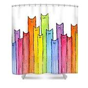 Cat Rainbow Watercolor Pattern Shower Curtain by Olga Shvartsur