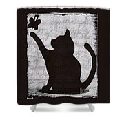 Cat  Shadow  And Butterfly  Shower Curtain