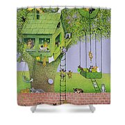 Cat Tree House Shower Curtain