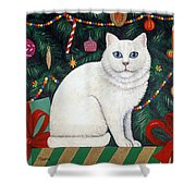 Cat Under The Christmas Tree Shower Curtain