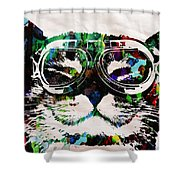 Cat Watercolor Rainbow Dreaming In Color Poster Print By Robert R Shower Curtain
