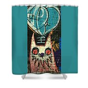 Cat With Teal Heart Shower Curtain