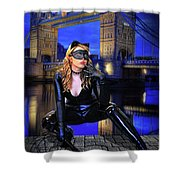 Cat Woman In London Shower Curtain