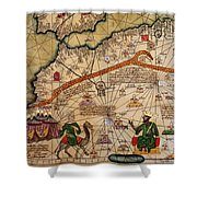 Catalan Map Of Europe And North Africa Charles V Of France In 1381  Shower Curtain by Abraham Cresques