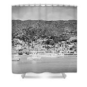 Catalina Island Avalon Bay Black And White Panorama Photo Shower Curtain