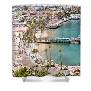 Catalina Island Avalon Waterfront Aerial Photo Shower Curtain