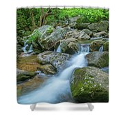Catawba Stream Cascades At High Shoals Falls In North Carolina Shower Curtain by Ranjay Mitra