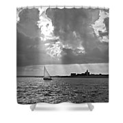 Catboat In Barnstable Harbor Shower Curtain