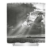 Catboats Sailing In Barnstable Harbor Shower Curtain