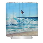 Catching Air Shower Curtain