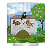 Tabby Cats Falling Shower Curtain