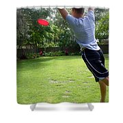 Catching Frisbee Shower Curtain