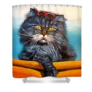 Cat.go To Swim.original Oil Painting Shower Curtain