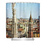 Cathedral And Campanile Milan Italy Shower Curtain