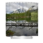 Cathedral Group Reflection On String Lake Shower Curtain