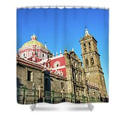 Cathedral In Puebla, Mexico Shower Curtain