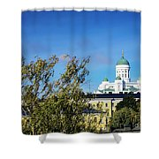 Cathedral Landmark And Central Helsinki View In Finland Shower Curtain