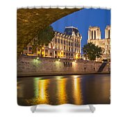 Cathedral Notre Dame And River Seine - Paris Shower Curtain