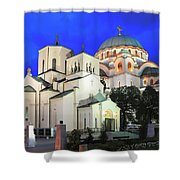 Cathedral Of Saint Sava At Dusk Belgrade Serbia Shower Curtain