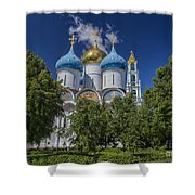 Cathedral Of The Assumption At Trinity Lavra Of St. Sergius In Sergiyev Posad, Russia Shower Curtain